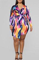 Adult Multicolor Long Sleeve V Neck Irregular Dress YLY2311