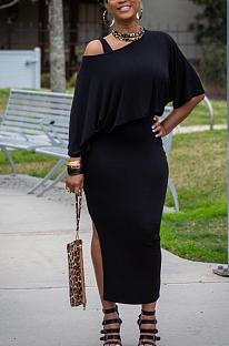 Sexy Pure Color One Shoulder Off Shoulder Split Hem Skirts Sets