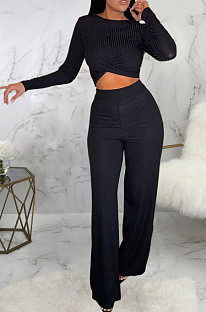 Casual Cotton Long Sleeve Round Neck Crop Top Long Pants Sets SMR9755