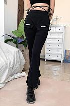 Calça cintura alta emagrecimento slim fashion casual boca de sino