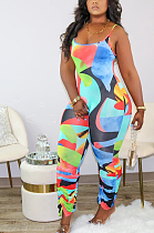 Sexy Casual Geometric Graphic Cami Bodycon Jumpsuits