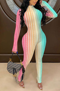 Casual Polyester Rainbow Printing Long Sleeve Bodycon Jumpsuit NK164