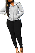 Casual Basics Sporty Simplee Pure Color Long Sleeve Hoodie Pants Sets