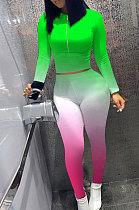 Zipper Long Sleeve Top Gradient Slinky Pants Fall Sets ZY8086