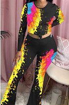 Long Sleeves Casual Top Wide Legs Pants Positioning Printing Set 2pcs AFY693