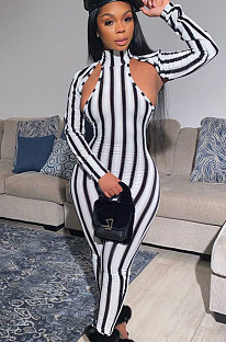 Casual Polyester Long Sleeve Hollow Out Unitard Jumpsuit Stripe PatternED8285