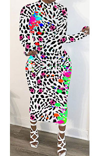 Polyester Long Sleeve Leopard print Round Neck Mid Waist Long Dress NK159