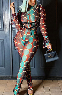 Polyester Polka Dot Long Sleeve Flounce Trousers Bodycon Jumpsuit NK176