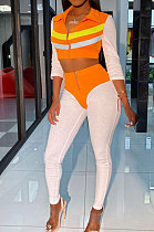 Euramerican Colors Patchwork Zipper Bodycon Fashion Suits AFY694