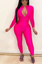 Casual Elegant Simplee Long Sleeve Deep V Neck Bodycon Jumpsuit