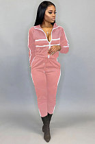 Casual Polyester Spliced Sweat Pants CoatYFS3569