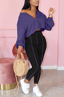 Casual Sporty Simplee Long Sleeve V Neck Off Shoulder Crop Top High Waist Pants Sets YX9233