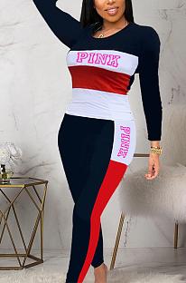 Ensembles de pantalons longs décontractés à manches longues et à manches longues avec panneau contrastant