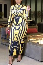 Luxeエレガントジオメトリックグラフィックロングスリーブロングドレス