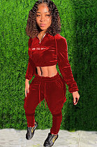 Velvet Embroidery Hooded Sporty Outfits Crop Top Pencil Pants AWL0029