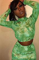 Σέξι τυπωμένο διάφανο πλέγμα Two-Piece Nightclub φούστα Σετ MY9571