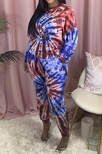 Casual Cotton Blend Tie Dye Long Sleeve Round Neck Longline Top Long Pants Sets LA3214