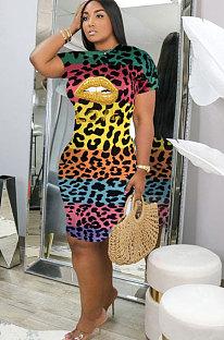 Women's Sexy O Neck Leopard Printing Short Sleeved Dress KSN8012