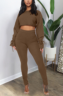 Casual Cute Simplee Long Sleeve Round Neck Self Belted Flounce Pants Sets GL6300