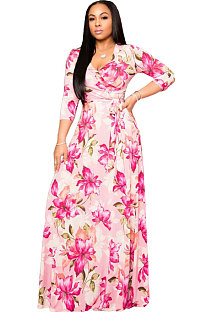Floral Printed V Collar Sexy 3/4 Sleeve Floor Length Dress A8573