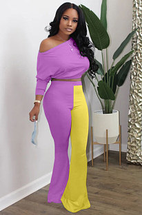 Batwing Sleeve Top Color Block Flared Pants Sets For Women YSS8046