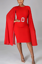 Modest Elegant Simplee Long Sleeve Round Neck Belted A Line Dress CCY8672