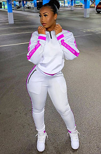Casual Polyester Spliced Long sleeve Fleece The letters Two-pieceNYF8012