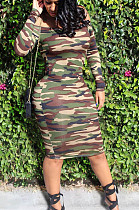 Sexy Polyester Camo Long Sleeve Off Shoulder Mid Waist Midi Skirt FSM0924