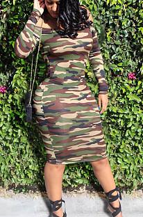 Sexy Polyester Camo Long Sleeve Off Shoulder Mid Waist Midi Skirt FSM0924