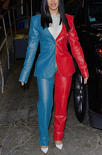 Casual Modest Elegant Long Sleeve Lapel Neck Utility Blouse Pants Sets F8241
