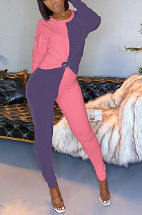 Preppy Sporty Simplee Colorblock Long Sleeve Round Neck Spliced Long Pants Sets YYF8133