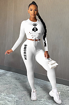 QUEEN Poker Card Print Lace-up Stretch Pants Sets DR8039