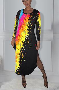 Casual fashion printed long-sleeved dress  ED8280