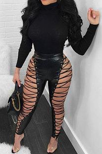 Sexy Pu Leather Eyelet High Waist Pencil Pants SN3273