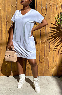 Casual Sexy Letter Short Sleeve V Neck  dress ED8276