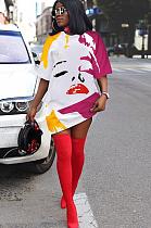 Cool Colorful Lip Print Round Neckline Short Sleeve Loose Dress YFS2026