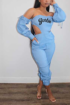 Casual Blazer Sporty Long Sleeve Off Shoulder Notched Neck Hollow Out Overall Jumpsuit T3438
