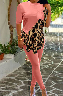 Cute Polyester Leopard Spliced Five Minutes Of Sleeve Pants Sets OMY8073