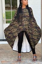 Robe irrégulière décontractée à manches longues et imprimé camouflage MR2062