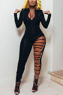 Sexy Long Sleeve V Neck Spliced Club Suit Hole Bodycon Jumpsuits K2040