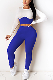 Casual Simplee Long Sleeve Round Neck Spliced Skinny Pants Sets TRS1071