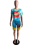 Casual Preppy Sporty Mouth Graphic Short Sleeve Round Neck Shorts Sets ABL4001