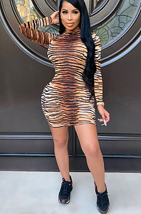 Light RipePolyester Leopard Long Sleeve High Collar Tight Dress Mid Waist ED8291