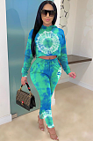Fashion Casual Tie-dye Print Cotton Blend Matching Pants Sets ZS0315