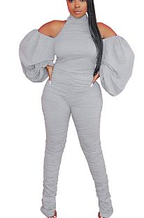 Casual mode sexy hangende nekflappen split broek bubble mouw open rug jumpsuit SY8701