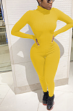 Casual Basics Simplee Extra-Long Sleeve Round Neck Bodycon Jumpsuit TRS1067