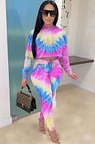 Fashion Casual Tie-dye Print Cotton Blend Matching Pants Sets ZS0315