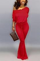 Fashion casual plain color bat-sleeved jumpsuit SY8388