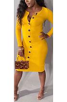 فستان ميدي بسيط غير رسمي بأكمام طويلة وياقة على شكل V HG5288