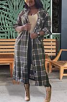 Casual modesto simplee guingão manga comprida lapela pescoço longo top OEP6219